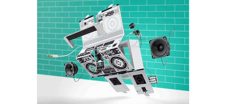 DIY Enceintes Musique En Carton Berlin Boombox Bluetooth