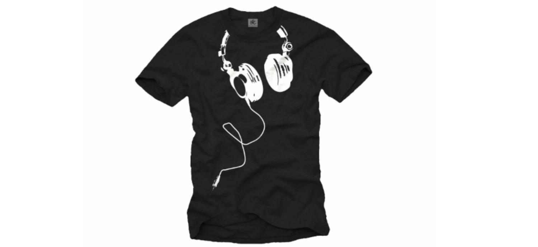 un t shirt avec casque audio imprim cadeaux pour musiciens. Black Bedroom Furniture Sets. Home Design Ideas