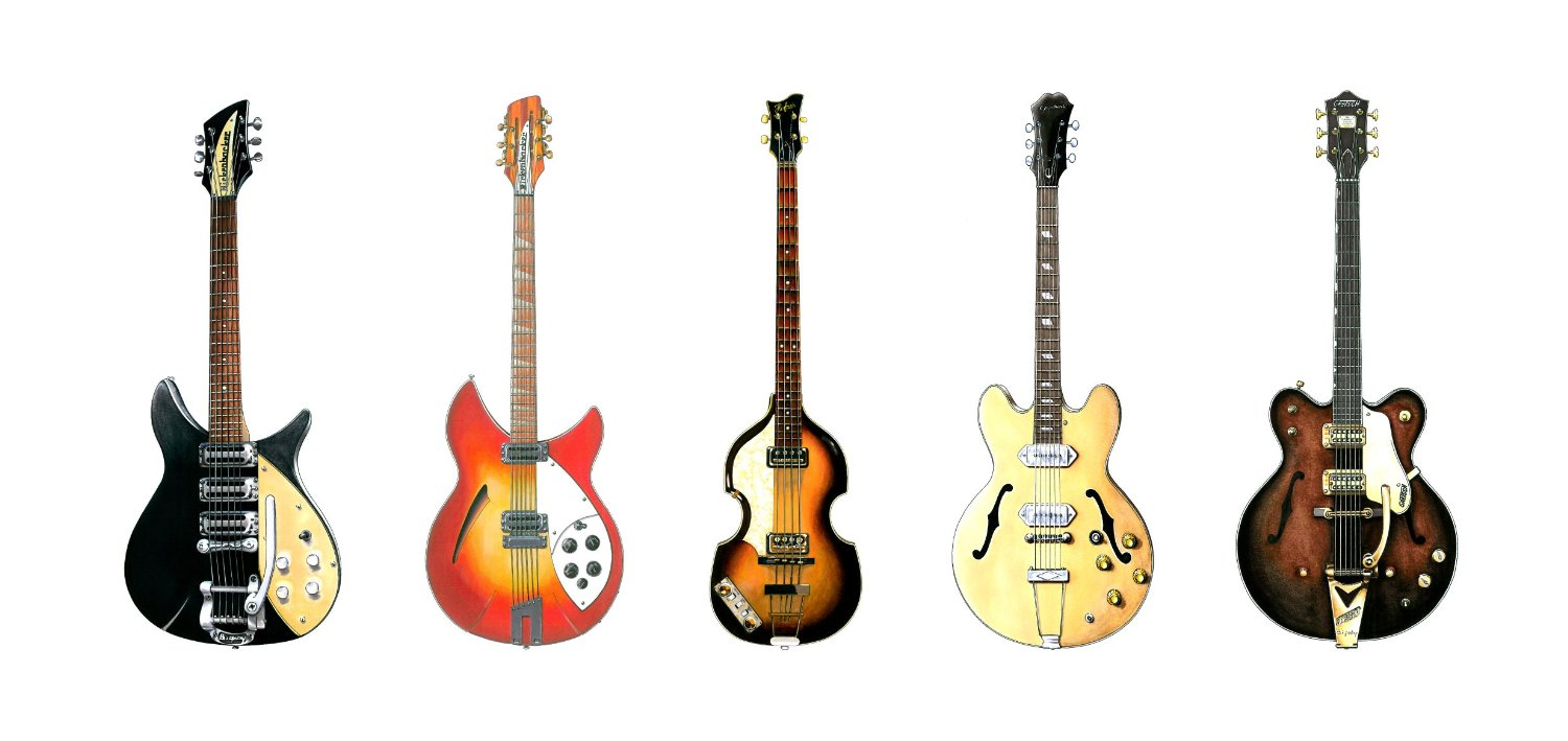 guitares beatles carte anniversaire